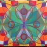 Mandala Transparencia,pintado a mano sobre madera , pintura acrílica, 60x30cm