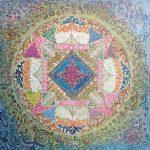 Mandala Relajación ,pintado a mano sobre material reciclado 80x80