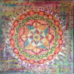 Mandala Optimismo,pintado sobre material de carton reciclado, pintado a mano 80x80
