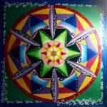 Mandala FAMILIA, lienzo pintado a mano 70x70 cm