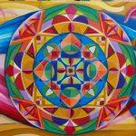 Mandala Unir, pintado a mano sobre madera , pintra acrílica 100x50cm