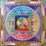 Mandala tibetano Los bosques, pintado a mano sobre lienzo 70x70cm
