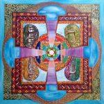 Mandala Tibetano 4 estaciones ,pintado a mano sobre lienzo, 70x70cm