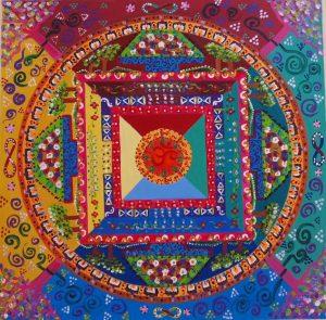 Mandala tibetano OM,pintado a mano sobre madera 70x70cm